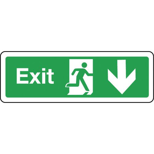 Sign Exit Arrow Down 300x100 Aluminium