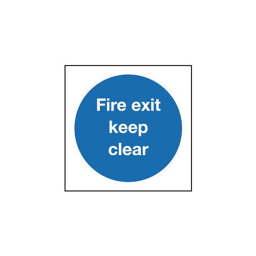 Sign Fire Exit Keep Clear 200x200 Aluminium