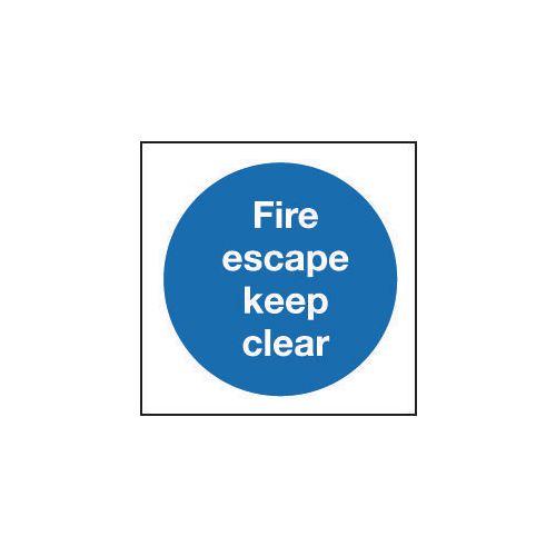 Sign Fire Escape Keep Clear 400x400 Aluminium