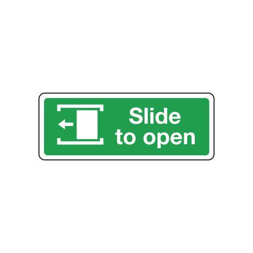 Sign Slide To Open Left 600x200 Aluminium