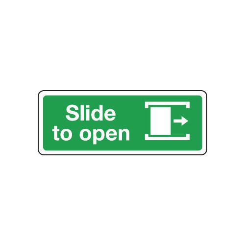 Sign Slide To Open Right 600x200 Aluminium