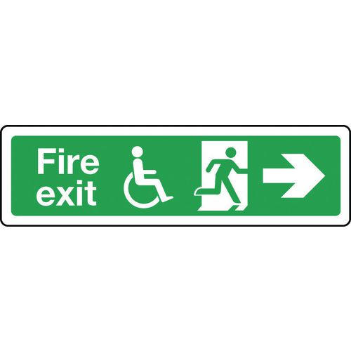Sign Disabled Fire Exit Right 600x150 Aluminium