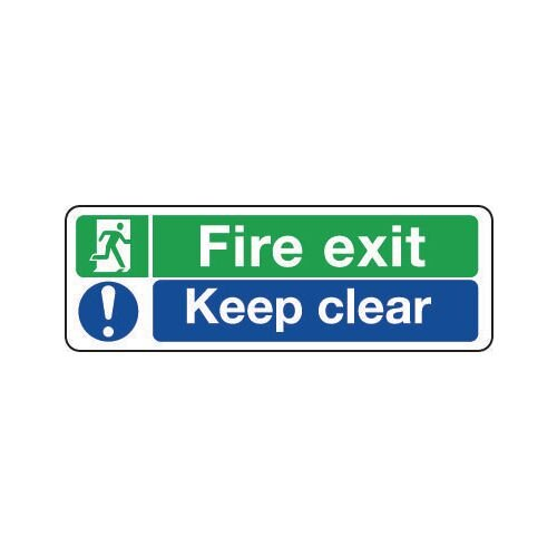 Sign Fire Exit Keep Clear 300x100 Aluminium