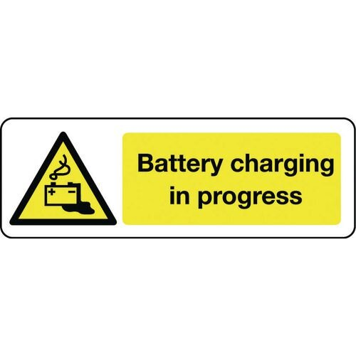 Sign Battery Charging In Progress 600x200 Aluminium