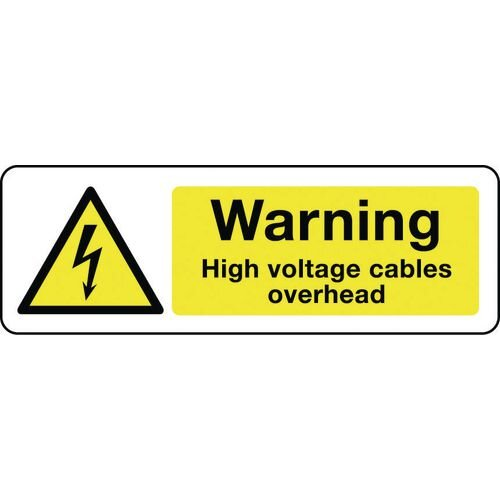 Sign Warning High Voltage Cables 300X100 Aluminium Electrical Hazard Signs - Warning High Voltage Cables Overhead