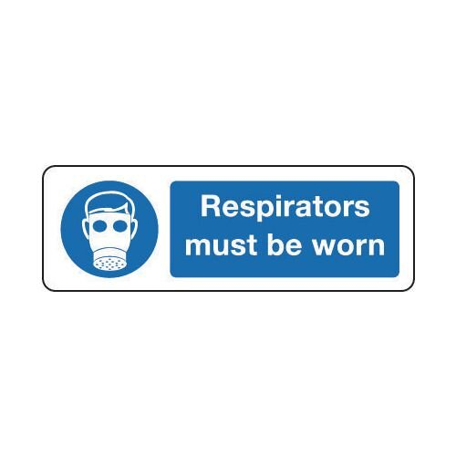 Sign Respirators Must Be Worn 300x100 Aluminium