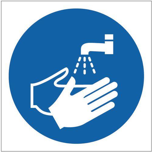 Sign Wash Hands Pictorial 100x100 Aluminium