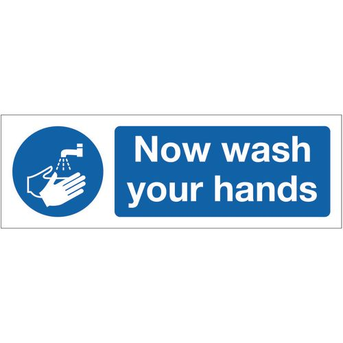 Sign Now Wash Your Hands 300x100 Aluminium
