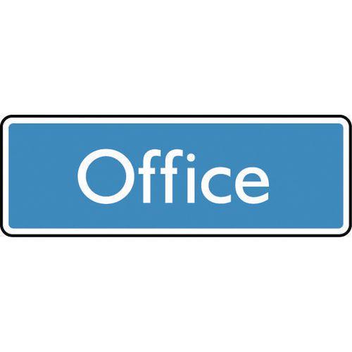 Sign Office 200X75 Aluminium White On Blue