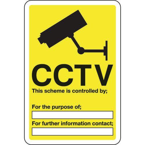 Sign Cctv This Scheme Is Controlled 300x400 Aluminium