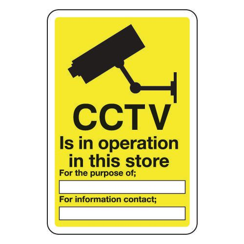 Sign Cctv Is In Operation In This Store 200x300 Aluminium