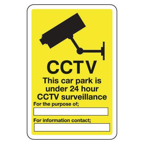 Sign Cctv This Car Park Is Under 24 200x300 Aluminium