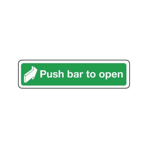 Sign Push Bar To Open 600x100 Aluminium