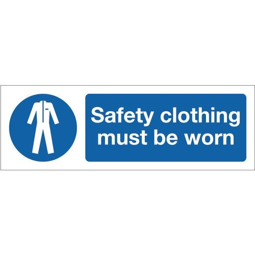 Sign Safety Clothing Must Be Worn 600x200 Aluminium