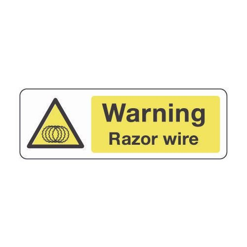 Sign Warning Razor Wire 600x200 Aluminium
