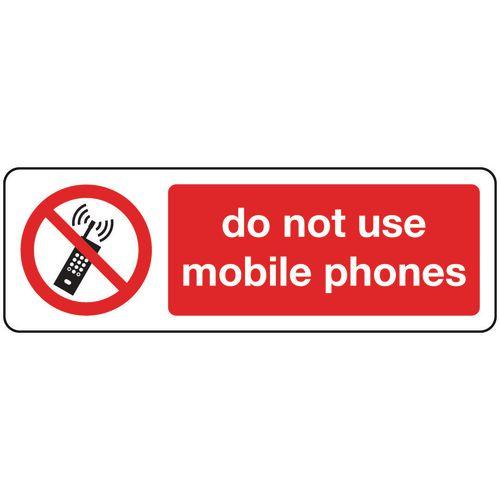 Do Not Use Mobile Phones Aluminium 600x200