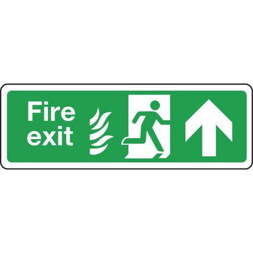 Sign Fire Exit Arrow Up 600x150 Aluminium