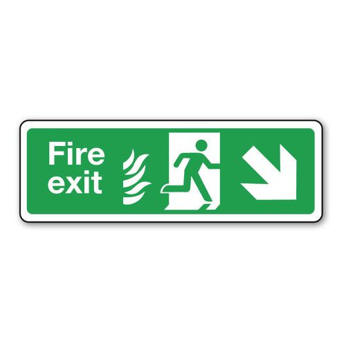Sign Fire Exit Arrow R Down 600x150 Aluminium