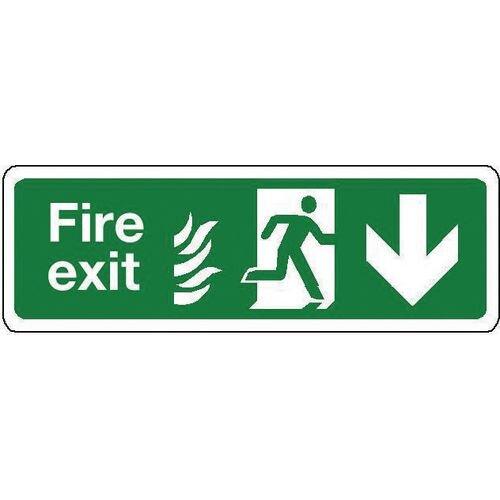 Sign Fire Exit Down 600x150 Aluminium