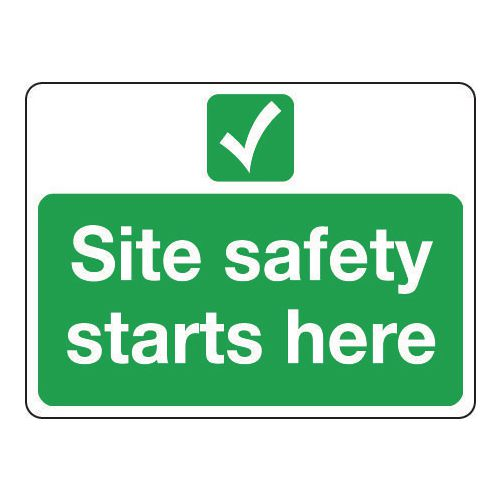 Sign Site Safety Starts Here 400x300 Aluminium