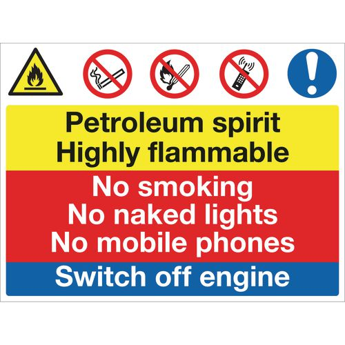Sign Petroleum Spirit No Smoking 600x450 Aluminium