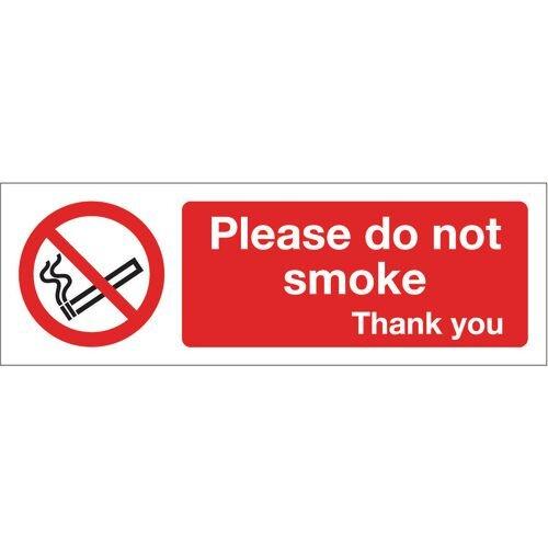 Sign Please Do Not Smoke 600x200 Aluminium