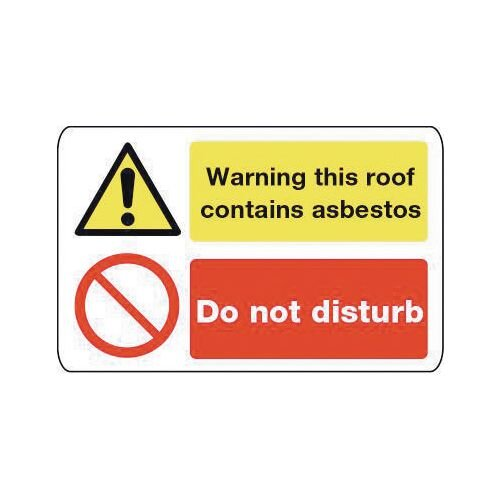 Sign Warning This Roof Contains 600X200 Aluminium