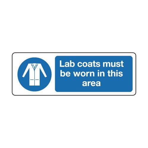 Sign Lab Coats Must Be Worn 600x200 Aluminium