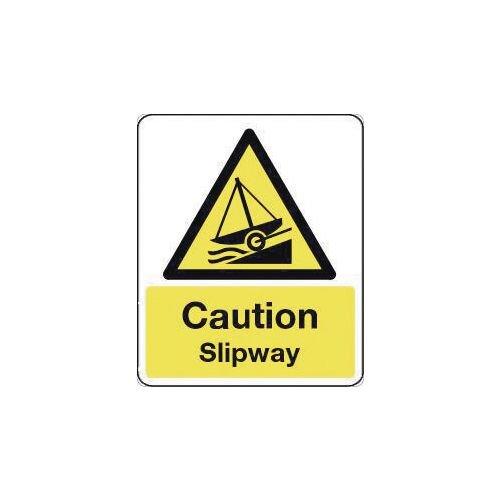 Sign Caution Slipway 600X200 Aluminium