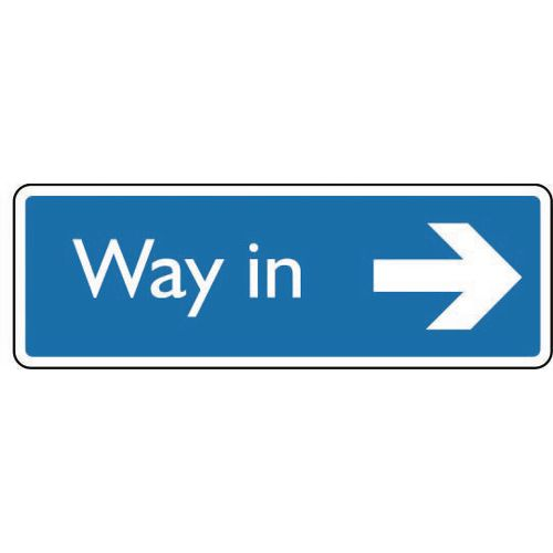 Sign Way In Arrow Right Aluminium 200X75 White On Blue