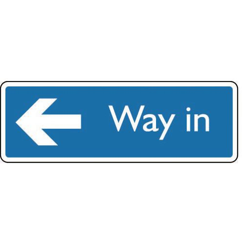 Sign Way In Arrow Left Aluminium 200X75 White On Blue