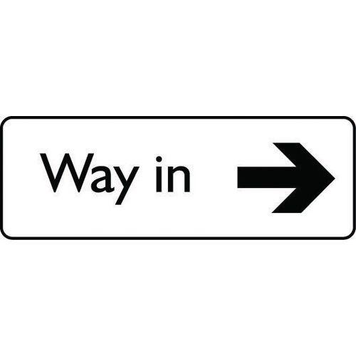 Sign Way In Arrow Right Aluminium 200X75 Black On White