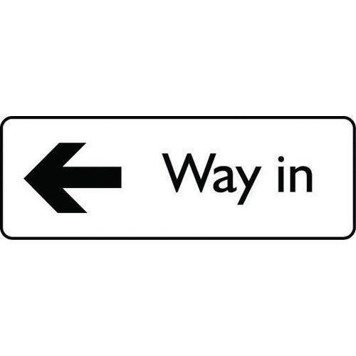 Sign Way In Arrow Left Aluminium 300X100 Black On White