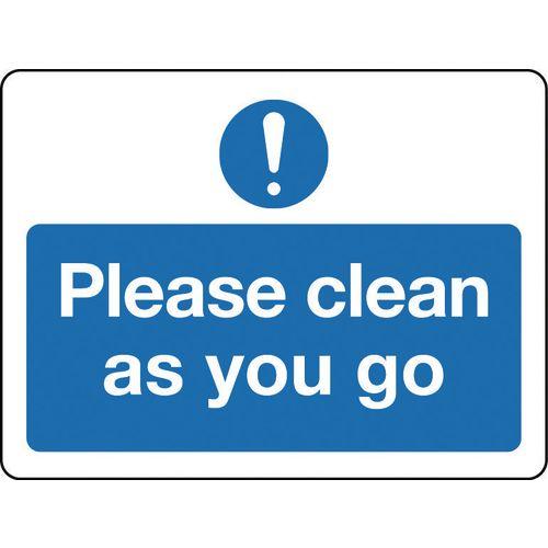 Sign Please Clean As You Go Aluminium 300x100