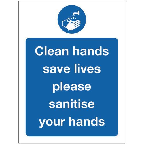 Sign Clean Hands Aluminium 300x100