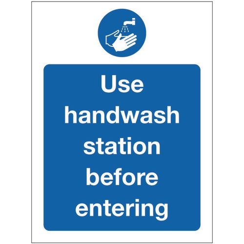 Sign Use Handwash Aluminium 300x100