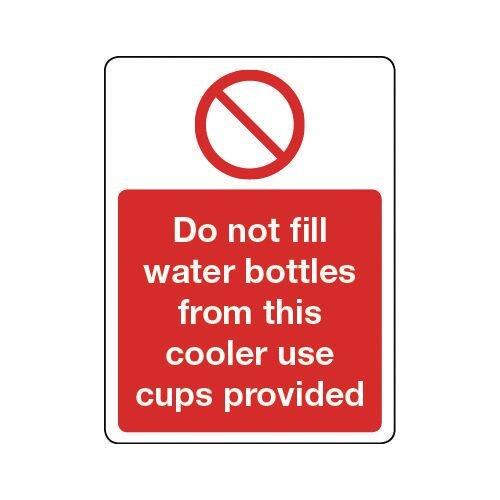 Sign Do Not Fill Water Bottles Aluminium 300x100