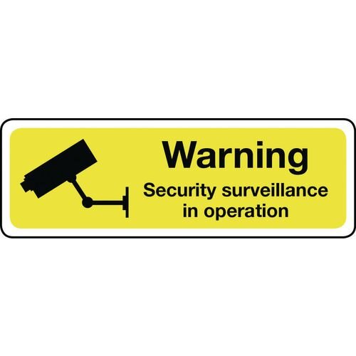 Warning Security Surveillance Aluminium 600x200