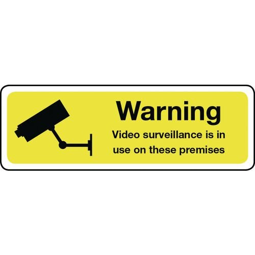 Warning Video Surveillance Aluminium 600x200