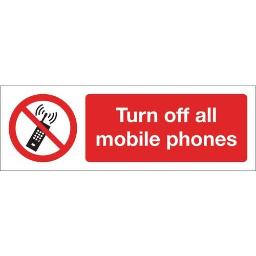 Turn Off All Mobile Phones Aluminium 600x200