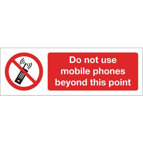 Do Not Use Mobile Phones Beyond This Point Aluminium 600x200