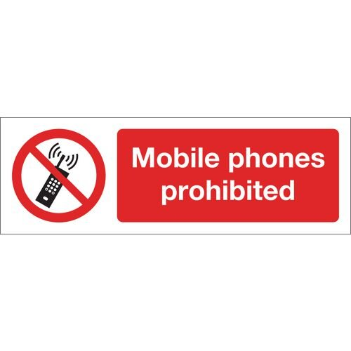 Mobile Phones Prohibited Aluminium 600x200