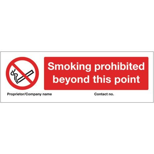 Sign Smoking Prohibited Beyond This Point 600X200 Aluminium