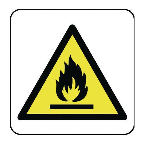 Sign Flammable Pictorial 100x100 Rigid Plastic