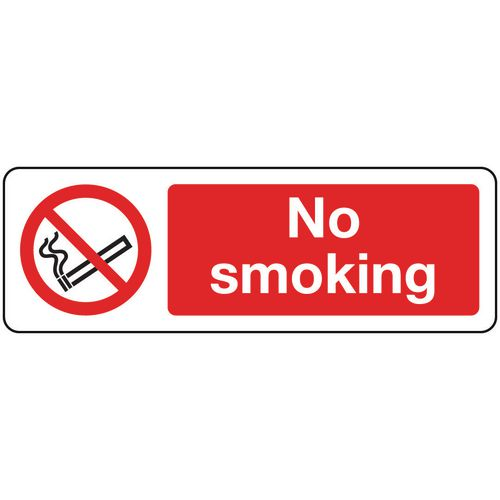 Sign No Smoking 600x200 Rigid Plastic
