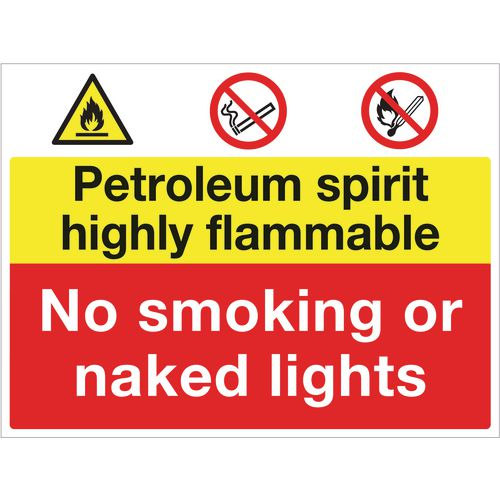 Sign Petroleum Spirit No Smoking 600X450 Rigid Plastic