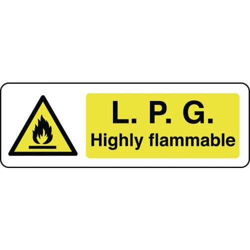 Sign Lpg Highly Flammable 300x100 Rigid Plastic