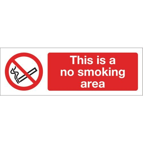 Sign This Is A No Smoking Area 600x200 Rigid Plastic