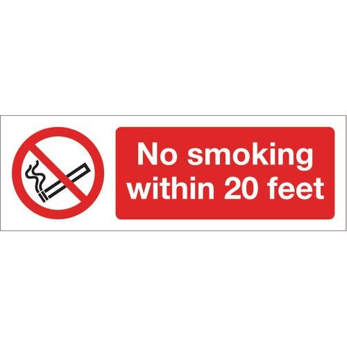 Sign No Smoking Within 20 Ft 600x200 Rigid Plastic