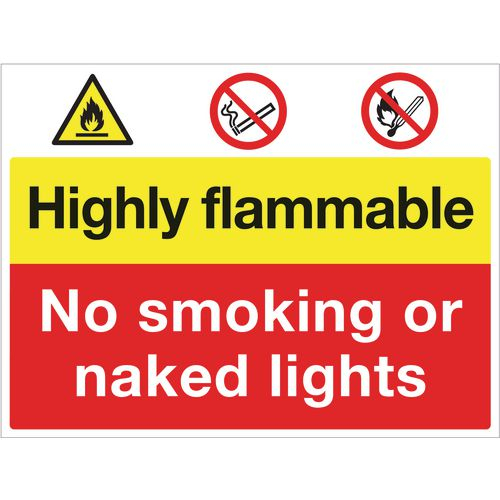 Sign Highly Flammable No Smoking 400X300 Rigid Plastic